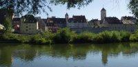 Regensburg, Donauinsel, Blick auf die Altstadt
